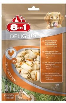 8in1 DELIGHTS XS косточки с куриным мясом для мелких собак 7,5 см 21 шт (пакет)