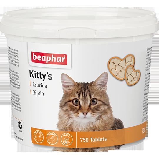Beaphar Kitty's Taurine + Biotin Витамины д/кошек с таурином и биотином, сердечки