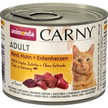 Animonda Carny Adult кон.д/кошек с Говядиной, Курицей и сердцем Утки 200г