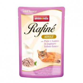 Animonda Rafine Adult консервы д/кошек с индейкой и ягненком в йогурт/сливоч соусе (пауч 100 г)