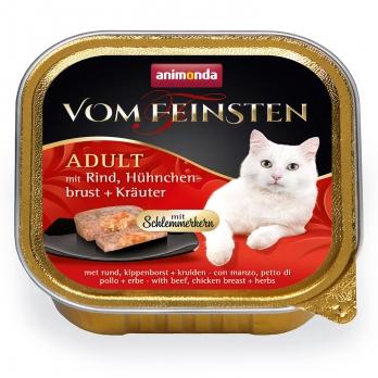Animonda Vom Feinsten Adult Меню для гурманов кон.д/кошек с Говядиной, куриной грудкой и травами 100г