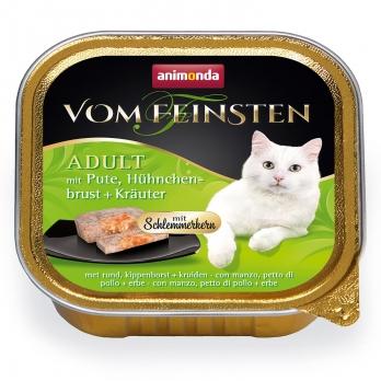 Animonda Vom Feinsten Adult Меню для гурманов кон.д/кошек с Индейкой, куриной грудкой и травами 100г