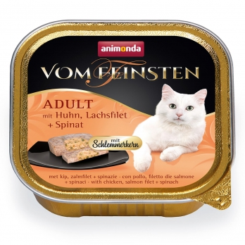 Animonda Vom Feinsten Adult Меню для гурманов кон.д/кошек с Курицей, филе лосося и шпинатом 100г