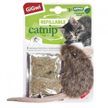 GiGwi Игрушка для кошек Мышка с кошачьей мятой 10см