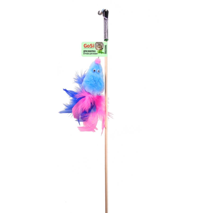 GoSi 07185 Игрушка д/кошек Мышь с мятой голубой мех с хвостом перо пышное на веревке этикетка флажок
