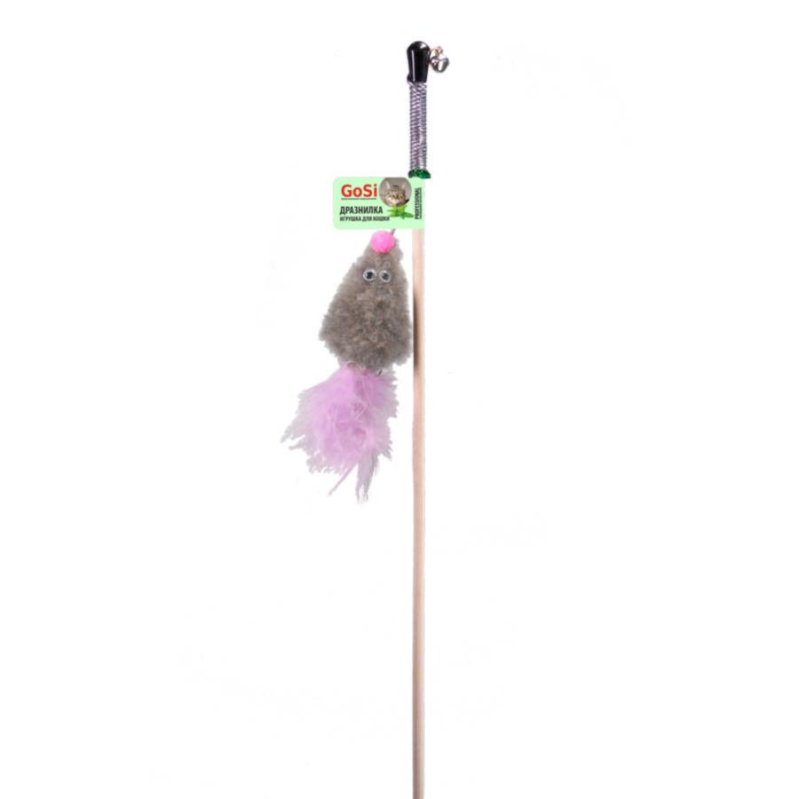 GoSi 07197 Игрушка д/кошек Махалка Мышь с мятой серый мех с хвостом перо на веревке
