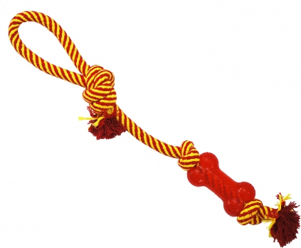 N1 Игрушка для собак Грейфер веревка плетеная с косточкой и ручкой 46см