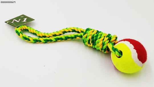 N1 Игрушка для собак Грейфер веревка плетеная с мячом 36см