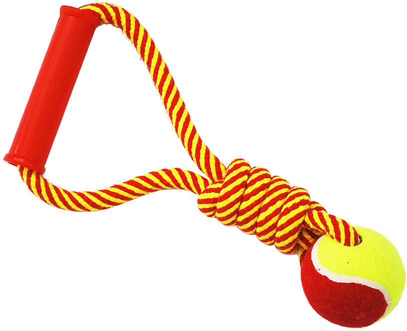 N1 Игрушка для собак Грейфер веревка плетеная с мячом и ручкой 30см