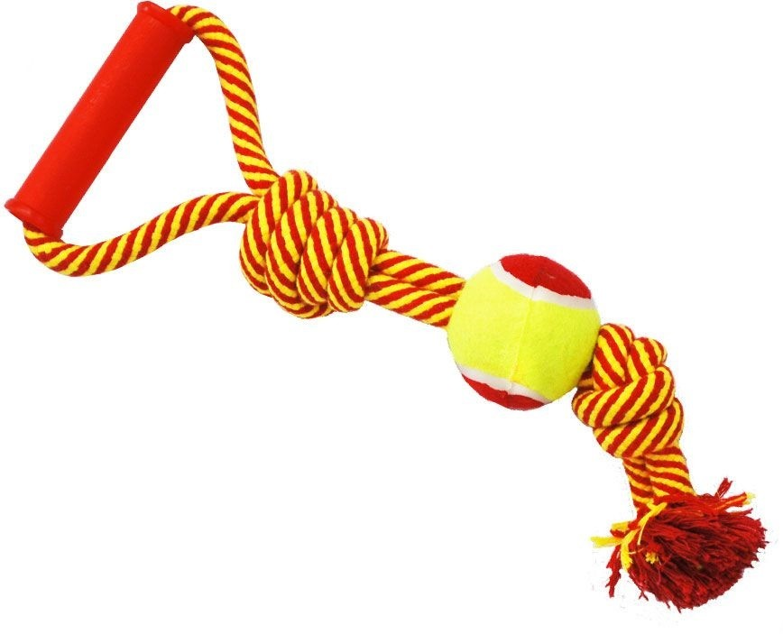N1 Игрушка для собак Грейфер веревка с двумя узлами, мячом и ручкой 40см