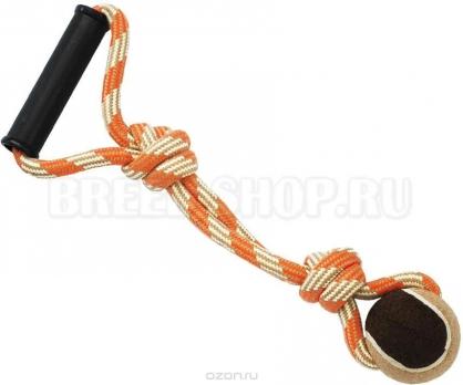 N1 Игрушка для собак Грейфер веревка с мячом и с ручкой 38см