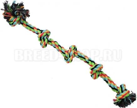 N1 Игрушка для собак Грейфер веревка цветная с пятью узлами 46см