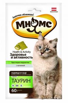 Мнямс хрустящие подушечки для кошек с курицей и сыром