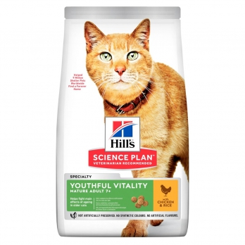 Hill's Youthful Vitality сухой корм для пожилых кошек, курица