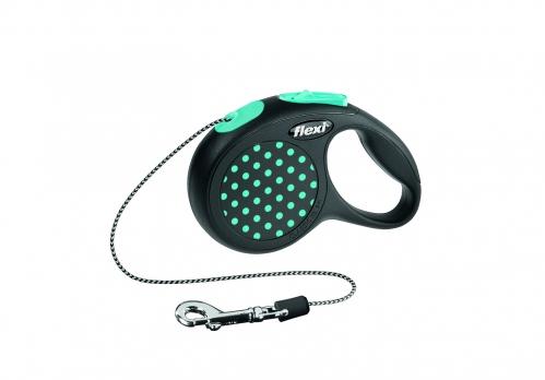 Flexi Рулетка-трос для собак до 8кг, 3м, голубая (Design XS Cord 3 m, blue)