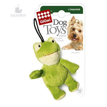 GiGwi лягушка с пищалкой, для собак, S