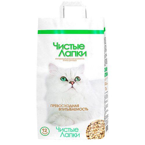 Чистые лапки Древесный наполнитель для кошачьего туалета, 12 л