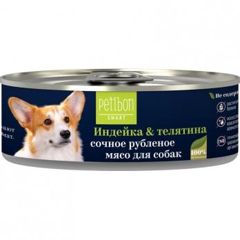 Четвероногий Гурман Petibon Smart консервы для собак рубленое мясо Индейка и телятина 100г
