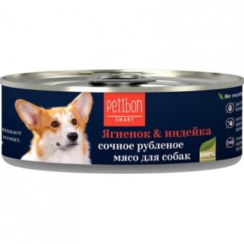 Четвероногий Гурман Petibon Smart консервы для собак рубленое мясо Ягненок и индейка 100г