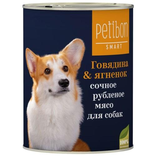 Четвероногий Гурман Petibon Smart консервы для собак рубленое мясо Говядина и ягненок 410г