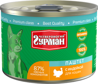 Четвероногий Гурман консервы для кошек паштет с Индейкой 190г