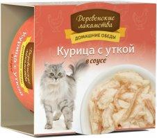 Деревенские лакомства консервы для кошек Курица с уткой в соусе 80г