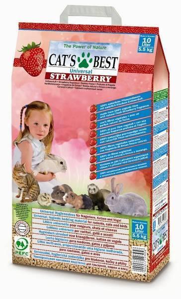 Cat's Best Universal Наполнитель древесный впитывающий Клубника 10л*5,5кг