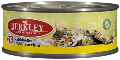 Berkley консервы для кошек №13 Кролик и говядина с цукини 100г
