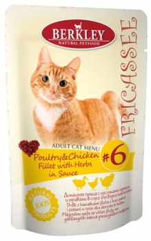 Berkley пауч для кошек №6 Фрикасе Домашняя птица с кусочками курицы и травами в соусе 85г