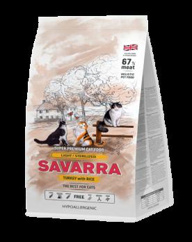 Savarra Light/Sterilized Turkey with Rice сухой корм для кошек с избыточным весом и стерилизованных Индейка/рис