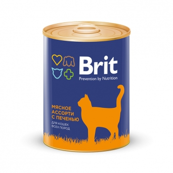 Brit консервы для кошек Мясное ассорти с печенью 340г