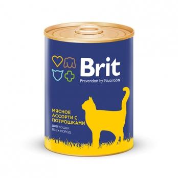 Brit консервы для кошек Мясное ассорти с потрошками 340г