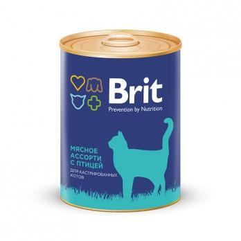 Brit консервы для кастрированных котов Мясное ассорти с птицей 340г
