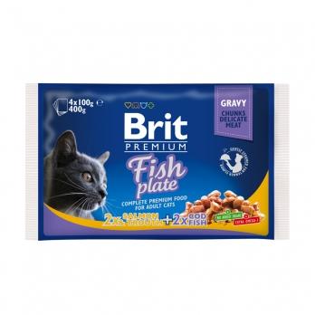 Brit Premium Набор паучей для кошек Рыбная тарелка 4*100г