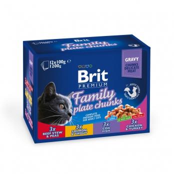 Brit Premium Набор паучей для кошек Семейная тарелка 12*100г
