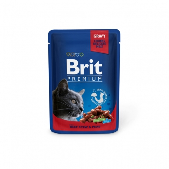 Brit Premium пауч для кошек Говядина и горошек 100г