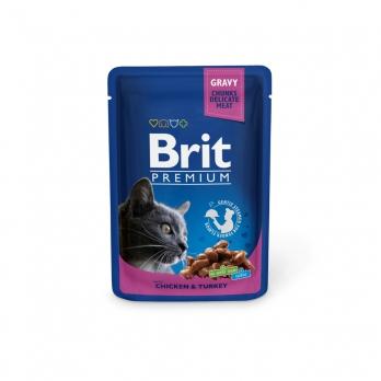 Brit Premium пауч для кошек Курица и индейка 100г