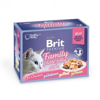 Brit Premium Набор паучей для кошек в желе Семейная тарелка 12*85г