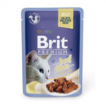 Brit Premium пауч для кошек филе Говядины в желе 85г