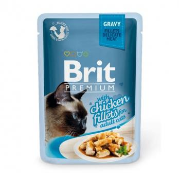 Brit Premium пауч для кошек Куриное филе в соусе 85г