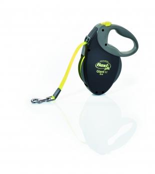 Flexi Рулетка-ремень для собак средних и крупных пород до 25кг, 8м (GIANT M Neon tape), черная+неон