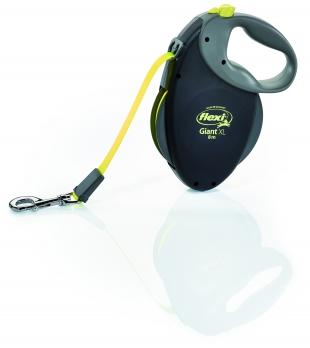 Flexi Рулетка-ремень для собак крупных пород более 50 кг, 8м (Giant XL Black Neon tape), черная+неон