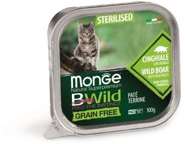 Monge Cat BWild GRAIN FREE беззерновые консервы из кабана с овощами для стерилизованных кошек 100г