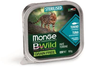 Monge Cat BWild GRAIN FREE беззерновые консервы из тунца с овощами для стерилизованных кошек 100г