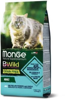 Monge Cat BWild GRAIN FREE беззерновой корм из трески, картофеля и чечевицы для взрослых кошек 1,5 кг
