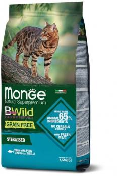 Monge Cat BWild GRAIN FREE беззерновой корм из тунца и гороха для стерилизованных кошек 1,5 кг