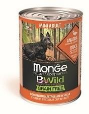 Monge Dog BWild GRAIN FREE Mini беззерновые консервы из утки с тыквой и кабачками для взрослых собак мелких пород 400г