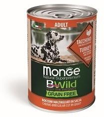 Monge Dog BWild GRAIN FREE беззерновые консервы из индейки с тыквой и кабачками для взрослых собак всех пород 400г