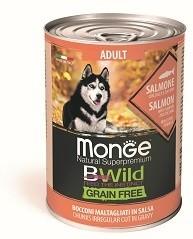 Monge Dog BWild GRAIN FREE беззерновые консервы из лосося с тыквой и кабачками для взрослых собак всех пород 400г