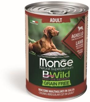 Monge Dog BWild GRAIN FREE беззерновые консервы из ягненка с тыквой и кабачками для взрослых собак всех пород 400г